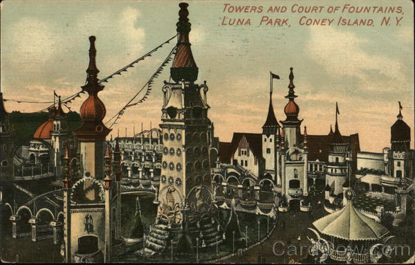 Towers and Court of Fountains, Luna Park Coney Island New York