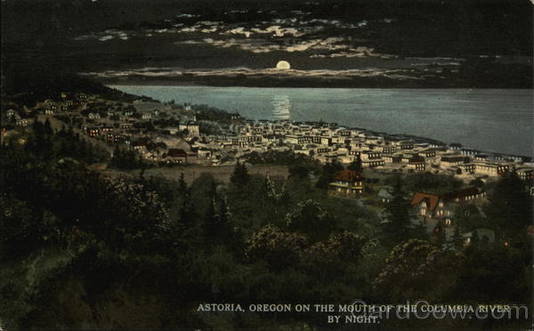 City on the Mouth of the Columbia River by Night Astoria Oregon