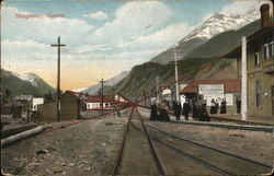 Train Tracks with Mountains in Background
