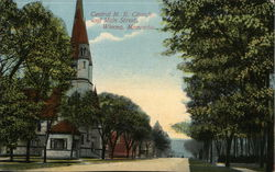 Central Methodist Episcopal Church and Main Street Postcard
