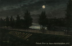 Mohawk River by Depot, at Night