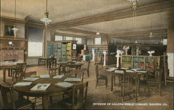 Interior of Galena Public Library Postcard