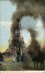 Burning Oil Well Postcard