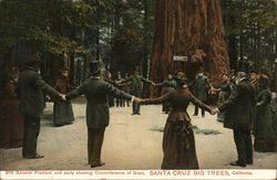 General Fremont and Party showing Circumference of Giant Redwood, Big Trees