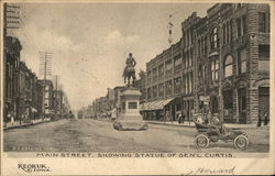 Main Street showing Statue of General Curtis Postcard