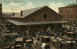 City Market - Wagons and People Postcard