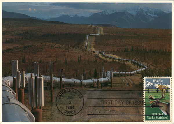 Alaska Pipeline First Day Cover J.B. Anderson Maximum Cards