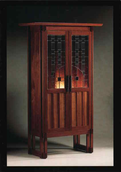 Woodenworks Stained Glass Mahogany Cabinet Stephentown New York