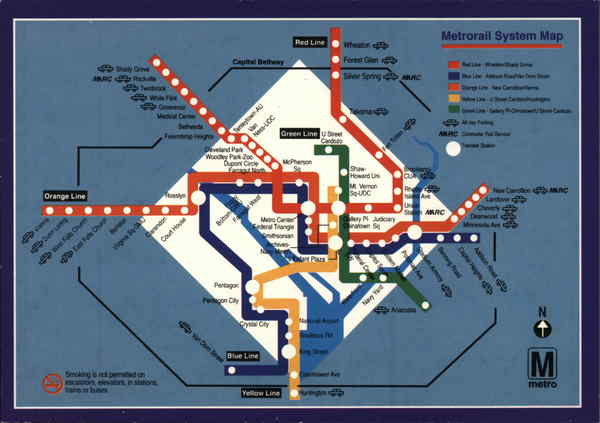 Metrorail System Map Washington District of Columbia