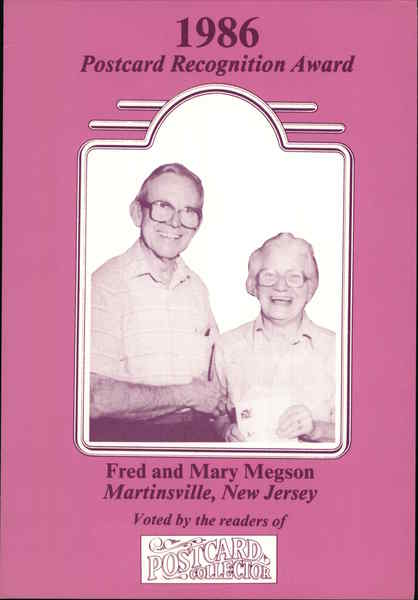 1986 Postcard Recognition Award: Fred and Mary Megson Martinsville New Jersey
