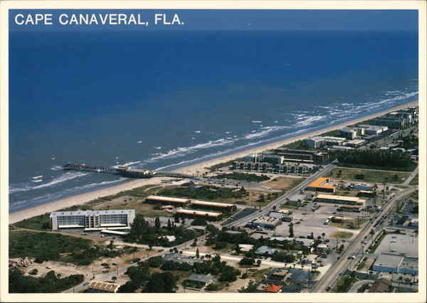 Aerial View of Cape Canaveral and Canaveral Pier Cocoa Beach Florida