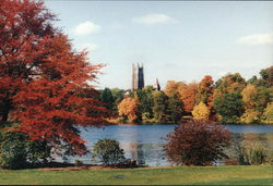 View across Lake Waban to Wellesley College