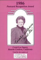 1986 Postcard Recognition Award: Coral-Lee Sparre
