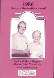 1986 Postcard Recognition Award: Fred and Mary Megson Postcard