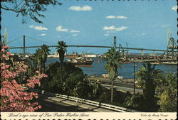Bird's Eye View of San pedro Harbor Area Postcard