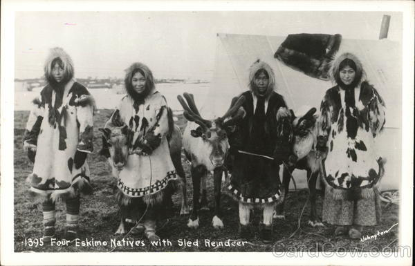 Eskimo Natives with Sled Reindeer