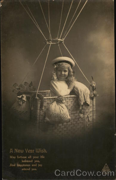 A New Year Wish: Child in Balloon Basket Children