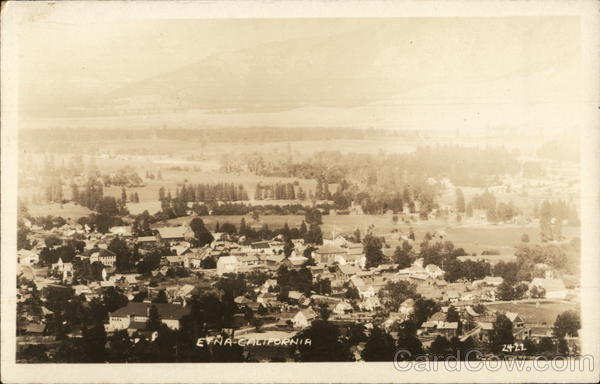 Aerial View of Town and Trees Etna California