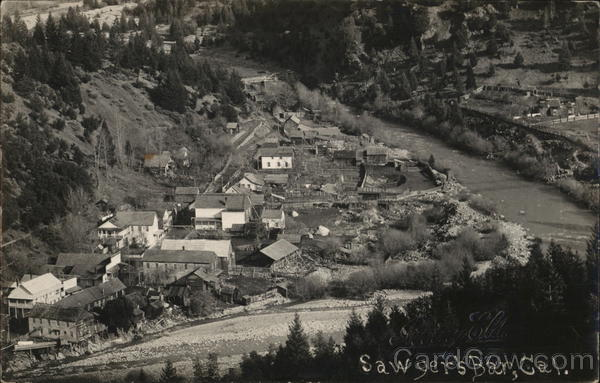 Aerial View of Town Sawyer's Bar California