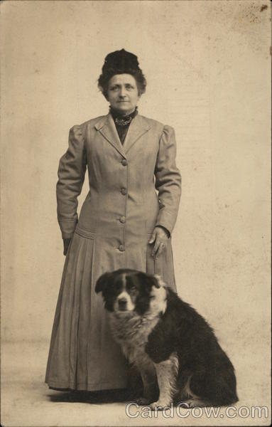 Woman Posing With Dog Dogs