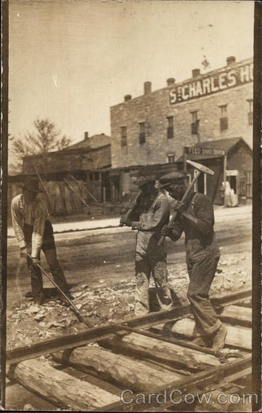 3 Railroad Workers on Tracks St. Charles Hotel Arkansas City