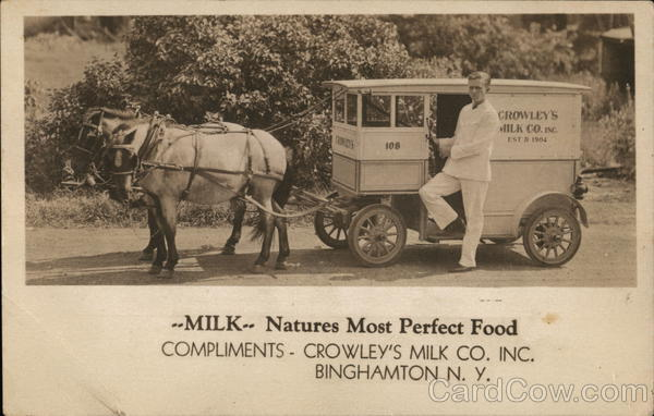Milk - Nature's Most Perfect Food, Compliments - Crowley's Milk Co. Inc. Binghamton New York