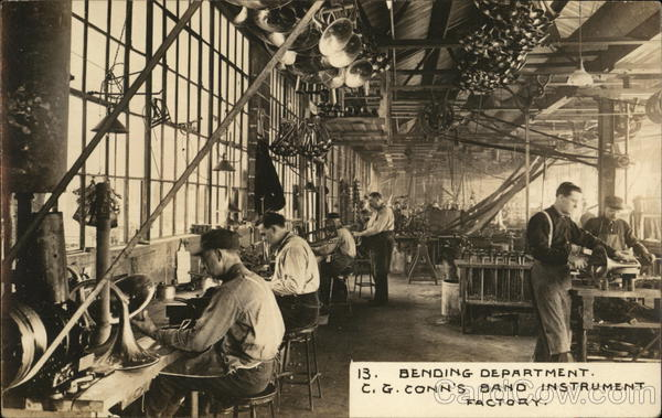 Bending Department, C. G. Conn's Band Instrument Factory Elkhart Indiana