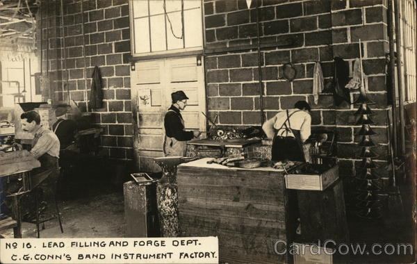 Lead Filling and Forge Dept., C. G. Conn's Band Instrument Factory Elkhart Indiana