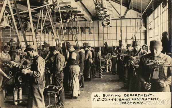 Buffing Department - C. G. Conn's Band Instrument Factory Elkhart Indiana