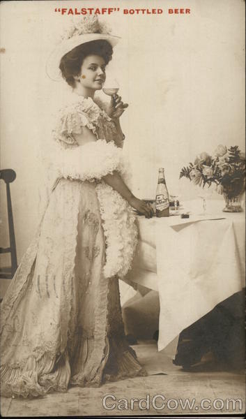 Falstaff Bottled Beer - Lady Sipping from Champagne Glass