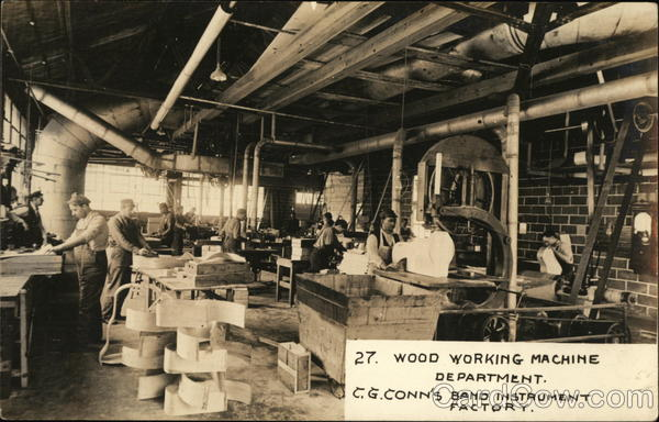 Wood Working Machine Department, C. G. Conn's Band Instrument Factory Elkhart Indiana