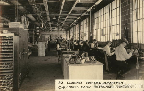 Clarinet Makers Department, C. G. Conn's Band Instrument Factory Elkhart Indiana