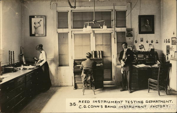 Reed Instrument Testing Department, C.G. Conn's Band Instrument Factory Elkhart Indiana