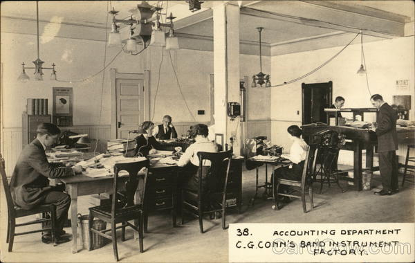 Accounting Department - C. G. Connn's Band Instrument Factory Elkhart Indiana