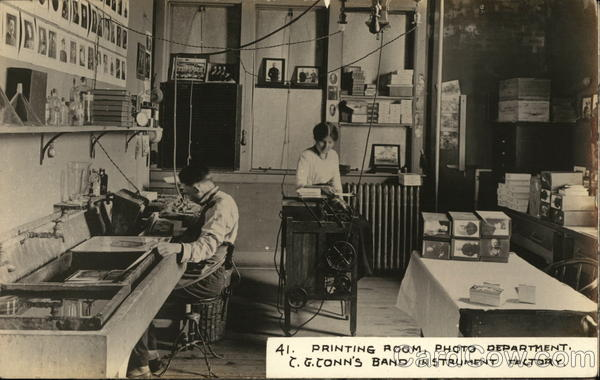 Printing Room, Photo Department, C. G. Conn's Band Instrument Factory Elkhart Indiana