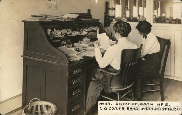 Dictation Room No 2. C. G. Conn's Band Instrument Factory Elkhart Indiana