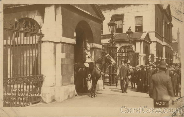 London Horse Guardsman on Post, Whitehall England
