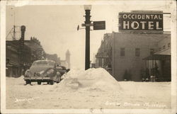 Occidental Hotel Snow Bound - Cars on Snowy Street