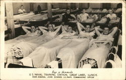 Boys in Hammocks - U. S. Naval Training Station