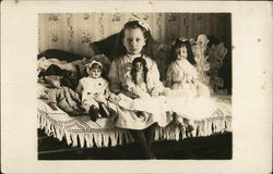 Girl Posing With Dolls