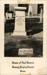 Grave of Paul Revere - Granary Burying Ground Postcard
