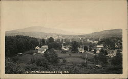 Mt. Monadnock in Background Behind Bird's-Eye View of Troy Postcard