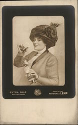 Woman Drinking Lemp Beer
