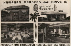 Hawaiian Gardens and Drive-In Postcard