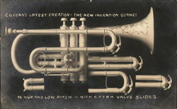 C. G. Conn's Latest Creation - The New Invention Cornet. Postcard