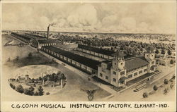 C.G. Conn Musical Instrument Factory Postcard