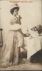 """Falstaff"" Bottled Beer - Lady Sipping from Champagne Glass"