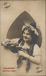 Girl Pouring Falstaff Bottled Beer