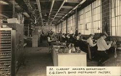 Clarinet Makers Department, C. G. Conn's Band Instrument Factory
