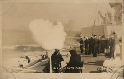 Six-Inch Guns Firing From USS Pittsburgh